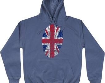 Fun Printed Novelty British UK Flag Fingerprint Hoodie Top Jumper Sweatshirt
