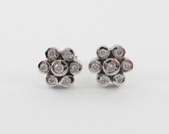 14k White Gold Flower Shape Diamond Stud Earrings 0.80 carat