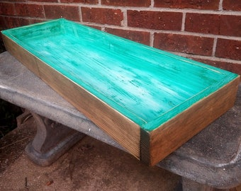 Reclaimed Wood Tray, Beach Kitchen Tray, 30 Inch Long Dining Table Tray, Rustic Vanity Tray, Turquoise Tray, Wooden Display, Patchwork Tray
