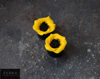"Poppy flowers plugs,Ear piercing tunnels,8,10,11,12-16,18,20,22,24,26,28-32 mm;2g,0g,00g;5/16"",3/8"",7\16"",1/2"",9/16"",5/8"",3/4"",7/8"",1 1/4"""