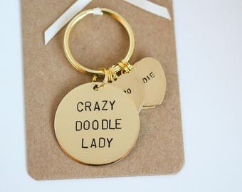 Crazy Doodle Lady Hand stamped Keyring, Personalised with dogs name(s)