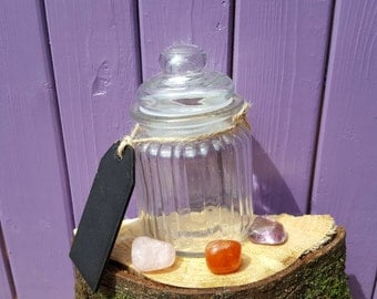 Apothecary Jar, Amethyst, Carnelian, Crystal Collection, Gemstone Package, Rose Quartz, Pagan Altar, Herb Storage, Tumblestones Gems