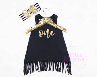 Girls First Birthday Dress, 1st Birthday Outfit, One First Birthday Outfit, Baby Girl Birthday Dress, Black and Gold Girls Dress