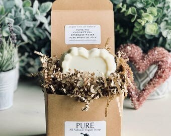 """Pure All-Natural Vegan Soap """"Large Sculpted Heart"""""""
