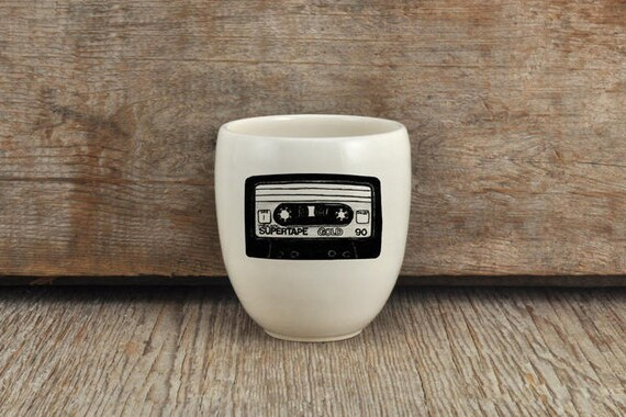 Porcelain coffee tumbler with cassette tape drawing by Cindy Labrecque