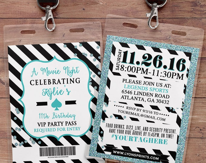 VIP PASS, invitation, Spade party, white party, 21st birthday, sweet 16, birthday invitation, wedding, baby shower, bridal shower