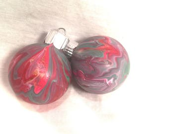 Red Pink Green Acrylic Pour Hand Swirl Marble Painted Small Glass Christmas Ornaments