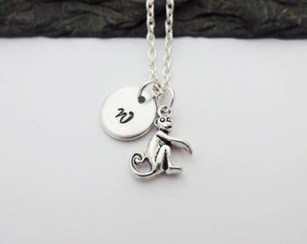 Monkey Necklace, Initial Monkey Necklace, Charm Necklace, Monkey Gift, Initial Necklace, Monkey Gifts, Monkey Jewellery, Animal Jewelry, Zoo