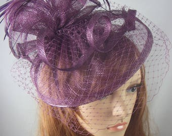 Plum Purple Sinamay Fascinator With Birdcage Veil - Occasion Wedding Races