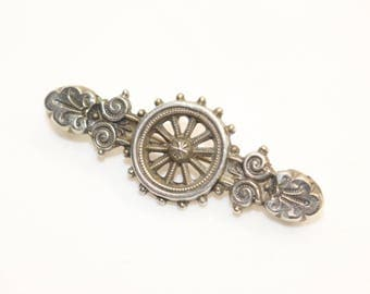 Antique  Late Victorian Silver Fronted Brooch c 1890s
