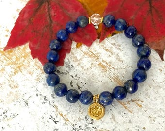Lapis Lazuli Crystal Quartz Lotus Spiritual Bracelet