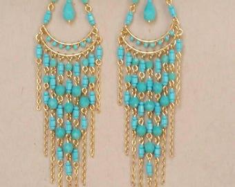 Turquoise Chandelier Earrings, Long Turquoise Earrings, Bohemian Earrings, Boho Earrings, Dangle Earrings, Native American Inspired Earrings