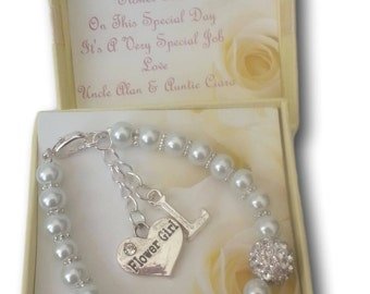 Flower Girl Bridesmaid Thank you Pearl Beaded Bracelet Favour Present Gift