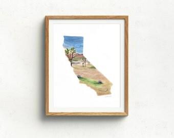 Joshua Tree art print - California state art print - California watercolor state map - California state outline - national park print