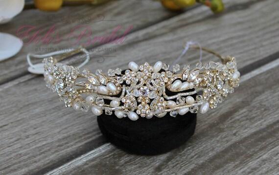 Gold Swarovski Tiara with Fresh Water Pearls, Crystal Tiara ,Wedding Tiara ,Crown , Princess Tiara, Crystal Headpiece, Corona, XV Tiara