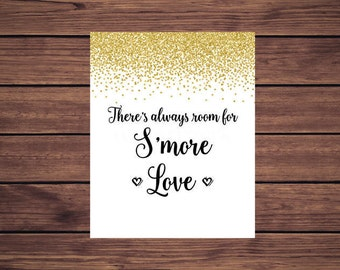 S'more Bar Sign, Gold Confetti Bridal Shower S'more Bar Sign, Wedding S'mores Bar Sign, S'more Love Sign Printable 207