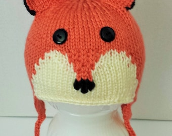 Hand Knitted Made to Order Fox Hat and Mittens for Babies - 3-6 Mos., 6-12 Mos. and 1-3 Yrs.