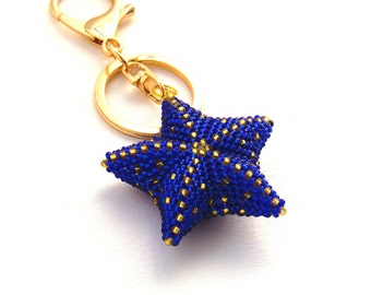 Unique gifts for women Blue Keychain for women Beaded Keychain charms Star Keychain  Bag Charm Accessories for car womens gifts for here
