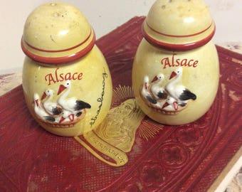 Vintage Alsace Ceramic  Salt and Pepper Shakers Souvenir Stork Birds