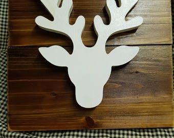 White wooden deer