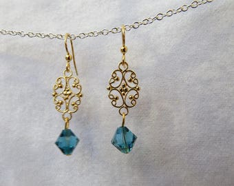 Gold dangles with blue crystal drop earrings