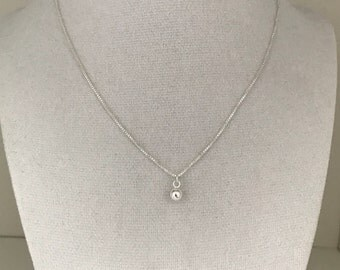 Dainty sterling silver ball necklace, minimalist pendant necklace, sterling silver