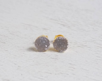 Small Druzy Studs, Natural Druzy Earrings, Round Druzy Stud Earrings, Raw Stone Earrings, Drusy Studs, Small Stone, Boho Earrings, R2-164