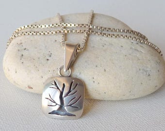 Sterling Silver Tree Pendant, Tree-of-Life Pendant Chain Necklace, 925  Modernist Tree Vintage Silver Tree  Necklace, Modern Tree Necklace