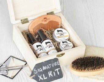 Mo Bro's Wooden Signature Beard Grooming & Care Gift Kit - bartpflege set