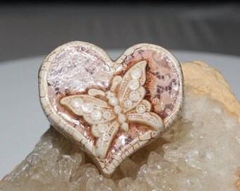 Polymer Clay Heart Pendant 33mm (L) X 34mm (W) X 9mm (thick) Antiqued with Flower On One Side Butterfly On Other Very Light 2.7mm Holes #89