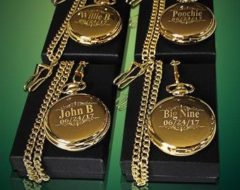 4 Groomsmen gift 4 Personalized Gold pocket watch in gift box - Custom engraved gift - 4 Gold bridesmaid gift set - Wedding gift set