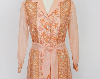 Vintage 1970's orange and gold Alfred Shaheen full length hostess dress