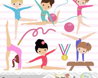 Instant Download Girls Gymnastics Digital Clipart, Gymnastic Girl Clip Art, Gymnastics Digital Clip Art, Digital Gymnast Girl Clip Art, 0192