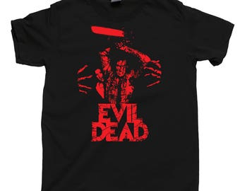 Evil Dead T Shirt Bruce Campbell Ash Williams Boomstick Chainsaw Army Of Darkness Deadites Necronomicon Ex-Mortis Scary Horror Tee Poster