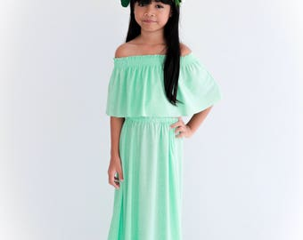 Mint Flower Girl Dress, Off The Shoulder Flower Girl Dress, Flower Gril dresses, Baby dresses