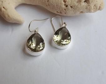 Green amethyst earrings; teardrop, prasiolite,; set in sterling silver, 92.5, faceted