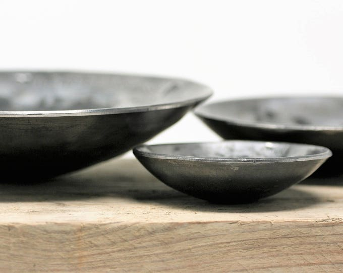 Set of Three STEEL BOWLS/11th Anniversary steel gift/steel anniversary hand forged bowls/personalised 11th anniversary gift//rustic  bowls