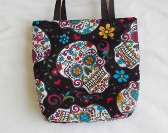 Halloween Fabric Gift Bag/ Party Favor Bag/ Halloween Goody Bag- Day of the Dead Skulls