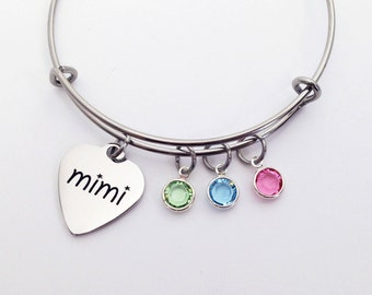 Mimi Bracelet, Mimi Gift, Mimi Jewelry, Mothers Day Gift for Mimi, Gifts for Mimi, Mimi, Grandma Gift, Mothers Day Gift, Birthstone Bracelet