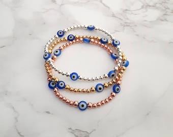 Evil Eye Bead Bracelet, Gold Evil Eye Bracelet, Silver Evil Eye Bracelet, Rose Gold Evil Eye Bracelet, Evil Eye Stretch Bracelet