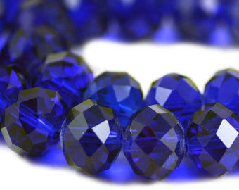 Chinese Crystal Large Rondelle Cobalt Blue 10x14mm