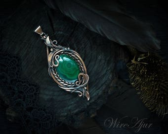 wire wrapped pendant malachite pendant green pendant wire wrap copper jewelry gift for women malachite necklace gift for wife gemstone