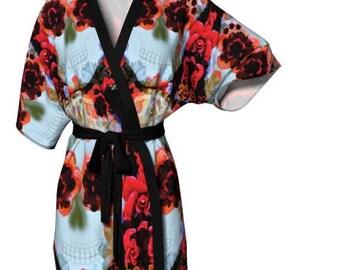 DESIGNER KIMONO ROBE for Women Silky Knit Sugar Skull Fashion Robe Luxury Robe for Women Christmas Robes for Women Sugar Skull Robe Kimono