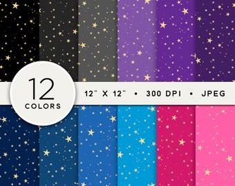 Star Digital Paper, Mini Stars Digital Paper Pack, Starry Night Pattern Digital Paper Set, Set of 12, Twinkle Stars Scrapbook Paper Bundle