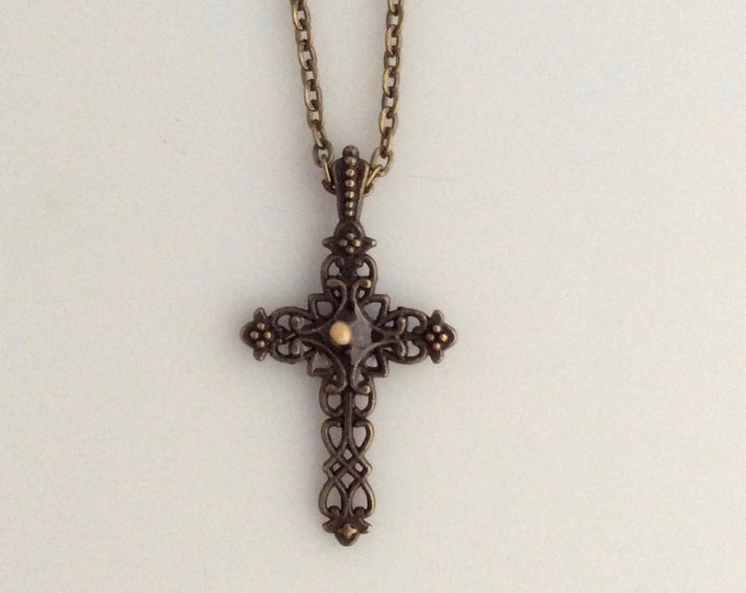 Faith of a mustard seed necklace, antique bronze filigree cross necklace with a mustard seed center and matching chain, Christian Jewelry