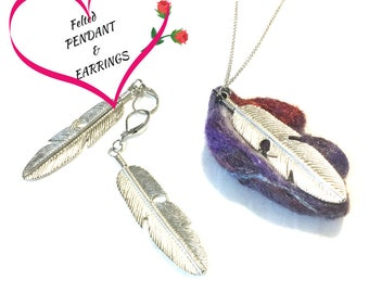 Felted Feather Pendant and Silver Earrings Set, Felt Designer Pendant, On Trend Stylish Gift, Unique Pendant Gift Set, OOAK Pendant Set