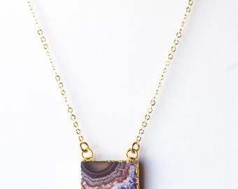Amethyst Slice Necklace,Gold Dipped Natural Stone Necklaces,Boho Necklace,Layering necklace,Gemstone Necklace,Raw Amethyst Necklace,Druzy