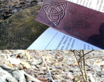 Leather Bookmark, Celtic Bookmark, Irish Bookmark,Triskele,Celtic Knot,Triskele BookMarks, Fantasy Bookmarks, Pagan Gift, Anniversary Gift