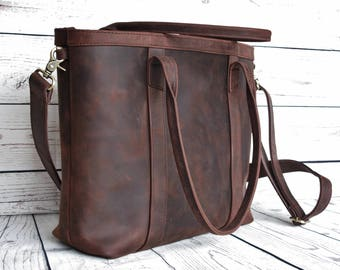 Leather tote bag, distressed leather bag, leather shopper, leather purse with zipper, leather handbag, tote bag