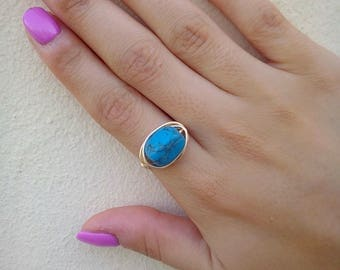 Blue Howlite Ring, Wire Wrapped Ring, Gold Plated Howlite Ring, Tarnish Resistant Ring, Gemstone Ring